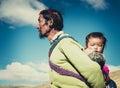 A Tibetan farmer with his kid Royalty Free Stock Photo