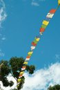 Tibetan flags prayer colorful with the blue sky Royalty Free Stock Photography