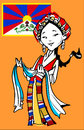 Tibetan girl vectorial funny with white kata and flag Stock Image