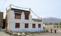 Tibetan houses at the valley in Ladakh, India Royalty Free Stock Photo