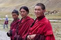 Tibetan monks in Dolpo, Nepal Stock Photo