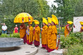 Tibetan Monks in the London Peace Gardens. Royalty Free Stock Images