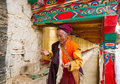 Tibetan old man was praying Royalty Free Stock Images