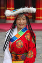 Tibetan pilgrim at a festival in traditional clothing from qinghai province Royalty Free Stock Images