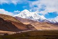 Tibetan plateau scene mt qungmogangze taken in the way from shigatse to lhasa of tibet is elevation m Royalty Free Stock Image