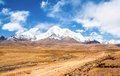 Tibetan plateau scene mt qungmogangze taken in the way from shigatse to lhasa of tibet is elevation m Stock Image