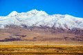 Tibetan plateau scene plateau snow mountain and railway taken in the qinghai tibet you can see the qinghai tibet Royalty Free Stock Image