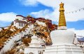 Tibetan plateau scene potala palace and prayer pag pagodas taken in the lhasa tibet Royalty Free Stock Image