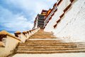 Tibetan plateau scene the stairs go to sacred potala palace taken in lhasa Royalty Free Stock Photo