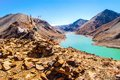 Tibetan plateau scene take in the way from ngarzhag to shigatse tibet china in the picture there are some lake snow mountain Royalty Free Stock Photo