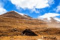 Tibetan plateau scene tibetan region nomads tent taken in the way from shigatse to lhasa tibet Royalty Free Stock Photography