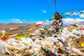 Tibetan prayer flags of mt qomolangma everest national nature reserve taken in the way go to Stock Photo