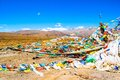 Tibetan prayer flags of mt qomolangma everest national nature reserve taken in the way go to Stock Photography