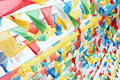 Tibetan prayer flags in the wind Stock Photos