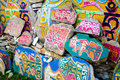 Tibetan prayer stones, religious Buddhist symbols Royalty Free Stock Photo