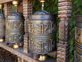 Tibetan prayer wheel Stock Photo