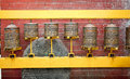 Tibetan prayer wheels in boudhanath stupa kathmandu nepal or bodnath temple Stock Photography