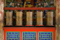 Tibetan prayer wheels in a monastery Stock Image