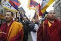 Tibetan protest toronto march buddhist monks marching in a rally organized to against the chinese occupation of tibet on march in Stock Photos
