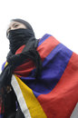 Tibetan protest toronto march a woman wrapped in a flag marching in a rally organized to against the chinese occupation of Stock Images