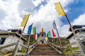 Tibetan Stupa with colorful buddhist prayer flags Royalty Free Stock Photo
