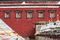 Tibetan temple in tibet a symbol of hope prayer tower standing in the Royalty Free Stock Image