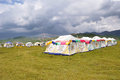 Tibetan tent with cloudy Royalty Free Stock Images