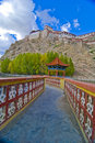 Tibetan walkway and fortress Royalty Free Stock Images