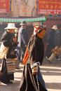 Tibetan woman pilgrim jokhang temple barkhor side lhasa china october an unidentified female circumambulates the a famous tourist Royalty Free Stock Photos