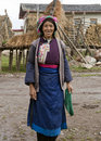 Tibetan woman in Yunnan Province Stock Photo