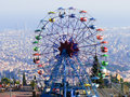 Tibidabo big wheel the in the amusement park in barcelona spain Stock Photos