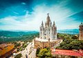 Tibidabo church on mountain in Barcelona Royalty Free Stock Photo