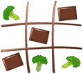 Tic tac toe chocolate with pieces of and broccoli wins isolated vector on white background Stock Photography