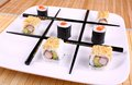 Tic tac toe chopsticks sushi close up Stock Photo