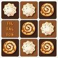 Tic-Tac-Toe of cinnamon roll and meringue