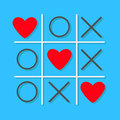 Tic tac toe game Cross and three red heart sign mark Love card Flat design Royalty Free Stock Photo
