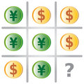 Tic Tac Toe Game with Dollars and Yen Royalty Free Stock Photos
