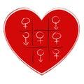 Tic tac toe game with sex symbol