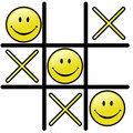 Tic Tac Toe Game & Winning Smiley Happy Face Stock Images