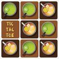 Tic tac toe of iced tea and kiwi juice top view with lemon Stock Photo