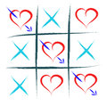 Tic tac toe love with hearts win Royalty Free Stock Photos