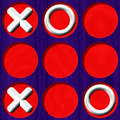 Tic tac toe wooden purple board with white symbol on red background Royalty Free Stock Photos