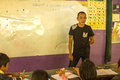 Ticher in lesson at school by project Cambodian Kids Care to help deprived children in deprived areas with education