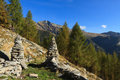 Ticino trail cairns hiking in switzerland Stock Photo