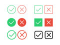Tick check mark and decline cross vector icons for internet buttons Royalty Free Stock Photo