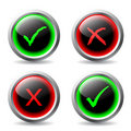 Tick and cross buttons Royalty Free Stock Photos