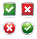 Tick and cross buttons illustration of in green red colors Stock Photography