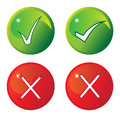Tick And Cross Buttons Royalty Free Stock Photo
