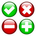 Tick cross minus plus signs on green and red circles Stock Images