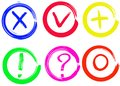 Tick, cross, plus, null, question marks and exclamation vector signs Royalty Free Stock Photo